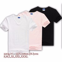 220gsm cotton lycra white blank pink V neck men's custom t-shirt