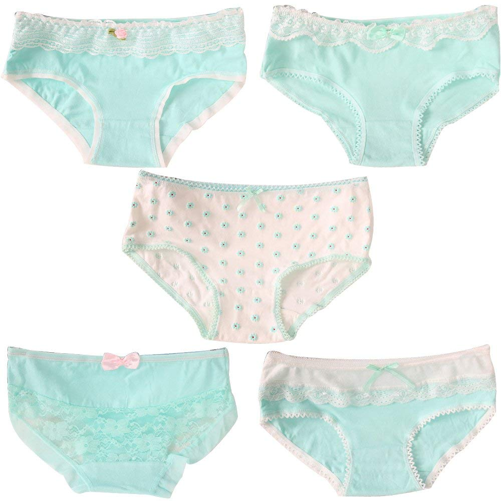 5fac3738da3 Get Quotations · OULU 5 Pack Women Big Girls Cotton Panty Panties Set Brief  Underwear Cute Candy Color Low