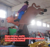 customized giant inflatable riding cowboy with cow