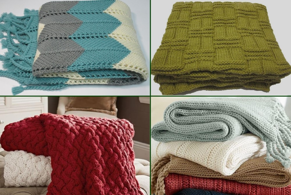 SZPLH 100% Cotton Cable Knit Throw Blanket Super Soft Warm Multi Color