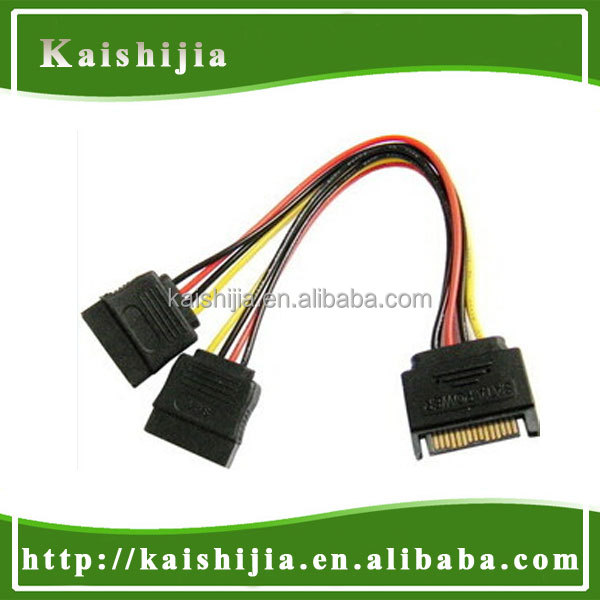 SATA Splitter Cable SATA 15Pin Male to 2 Female HDD Splitter Power Cable