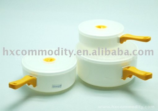 Plastic Microwave Food Container Set with Long Handle