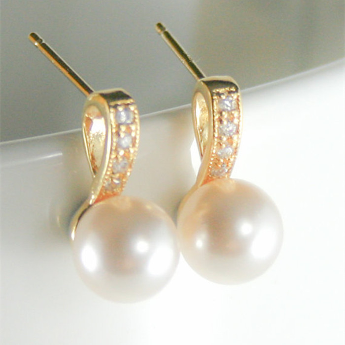 Gold Ear Tops Designs 18k Rhinestone Cultures Pearl Stud Earrings ...