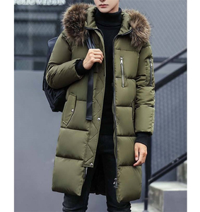 Men's winter thick padded quilted windproof long jacket parka with fur hood