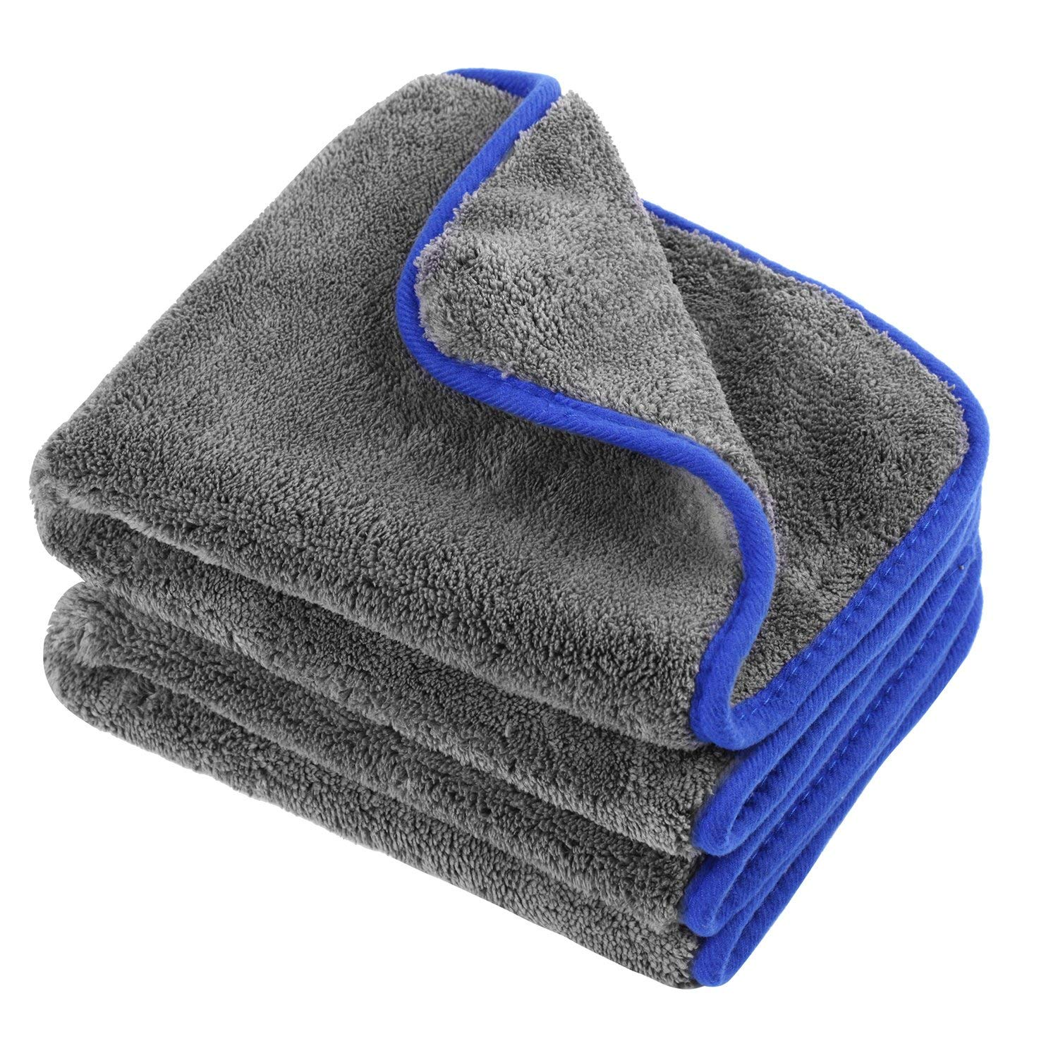Microfiber Cleaning Towel/Cloth,ON THE WAY Dual-Purpose 1200gsm Microfiber Towel Lint-free Dual Layer Ultra-Thick Car Wash Buffing Wax Polishing and Drying Cloth Auto Detailing Towels(40x45cm)