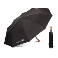 Topumbrella Strong Windproof Automatic Open And Close Wood Handle 3 Fold Folding Umbrella