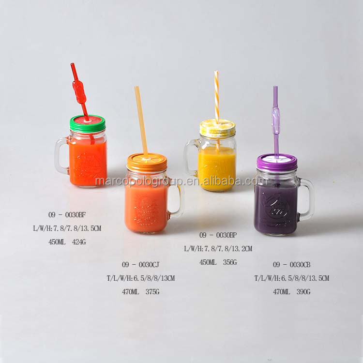 Label printing 450ML glass mason handle jars and juice bottle with metal lid