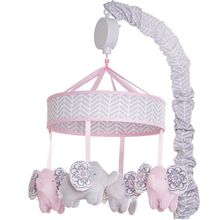 Baby bedroom decorations bed crib hanging plush elephant music mobile toys