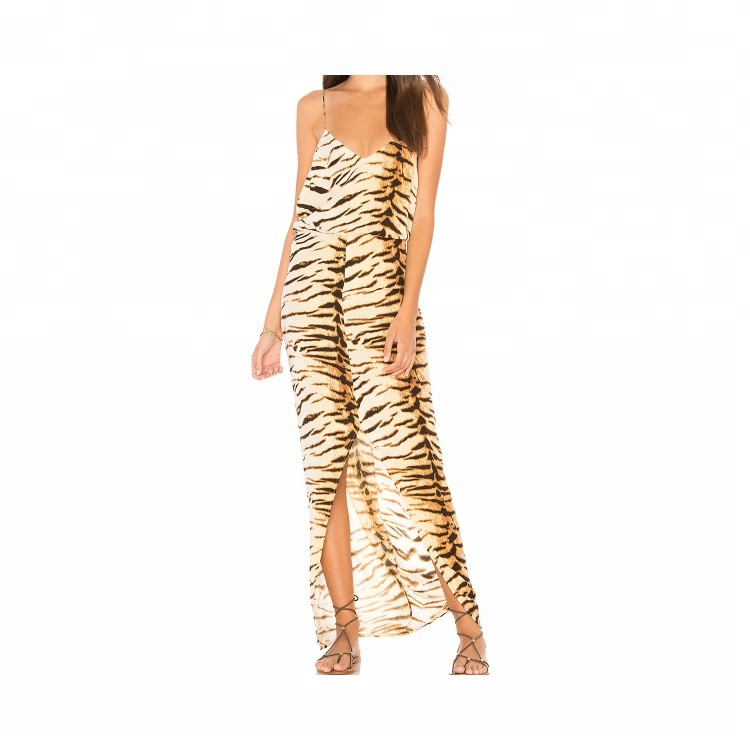388e03673a6df New fashion prom dress design women animal print long prom dress