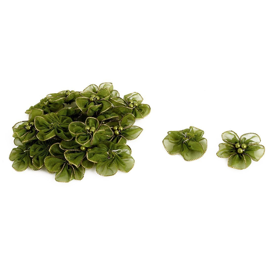 uxcell Organza Boutique Clothing Faux Pearl Decor Manual Appliques Flower 20 PCS Olive Green