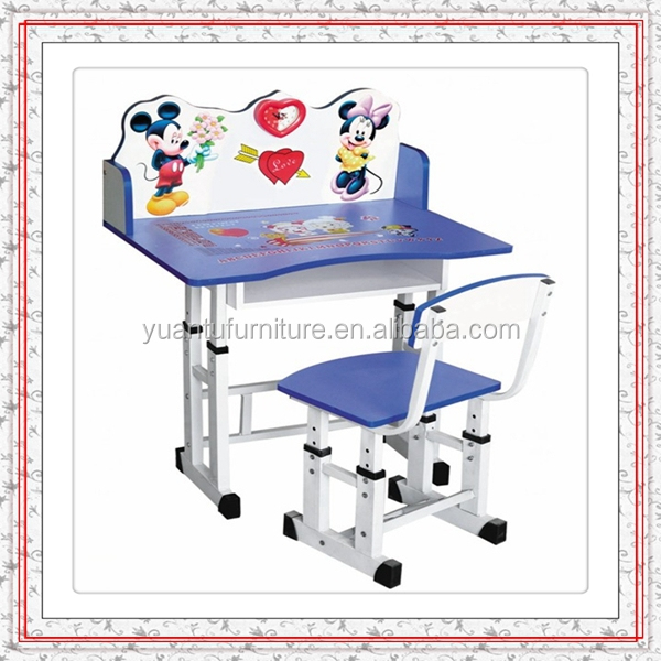 Blue Kids Folding Study Table Chair With New Cartoon Design For