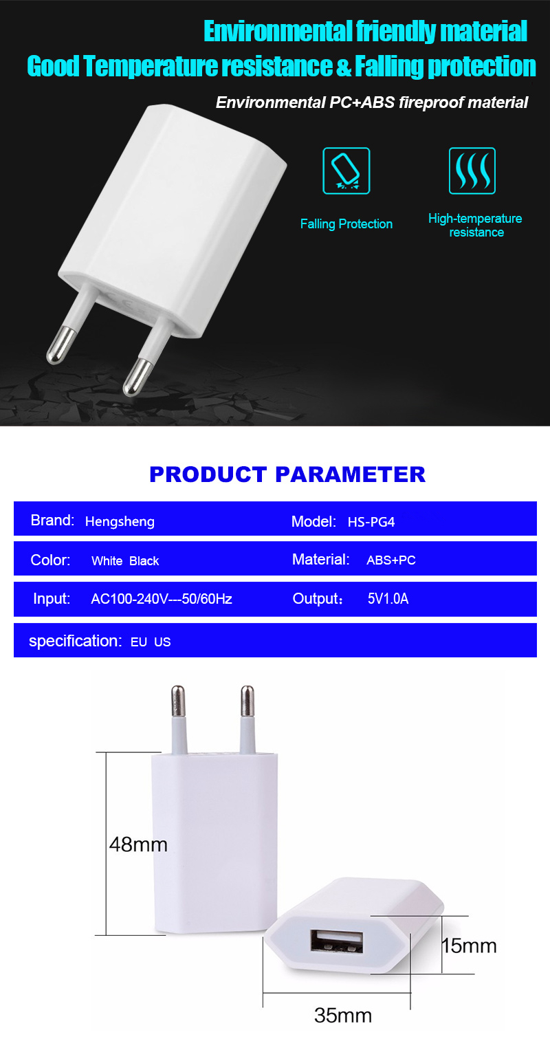 Hot selling products travel 5v 1.0a charger adapter for mobile phone 5V 1A US/EU plug usb wall charger for iPhone charger