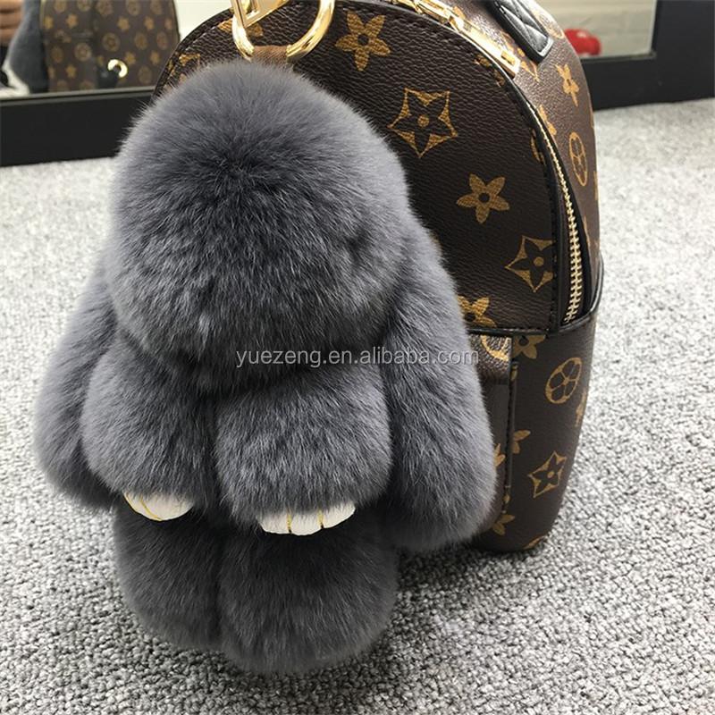 2018新しい到着ウサギの毛皮キーホルダー子かわいいバッグぬいぐるみキーチェーン用女性ウサギのキーホルダー