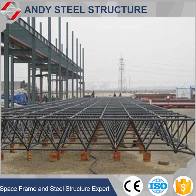 Long span flat steel structure space frame roof for gas station