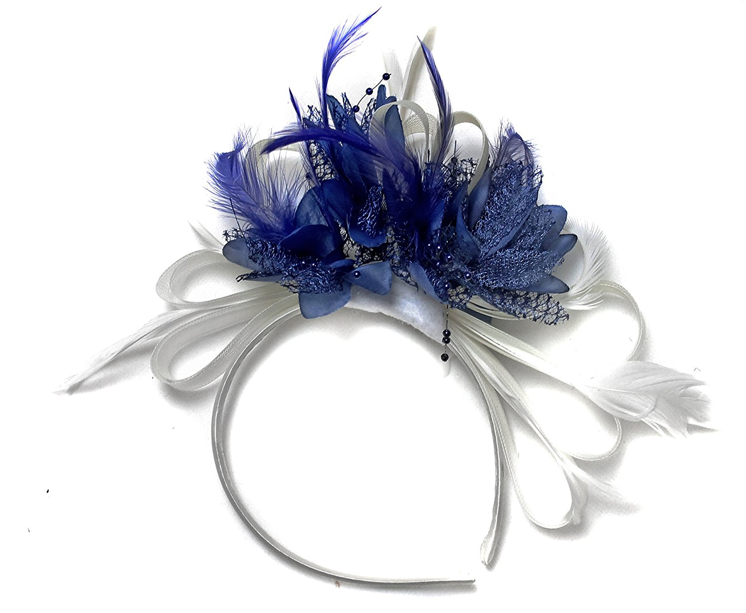 7e661aae18c9d Get Quotations · White and Blue Fascinator Headband Net Hoop Feather Hair  Wedding Royal Ascot Races