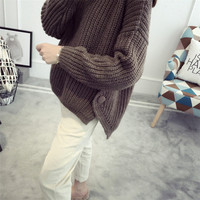 ZH1753C loose round-neck sweater short style long sleeved knitted wearing wool sweater