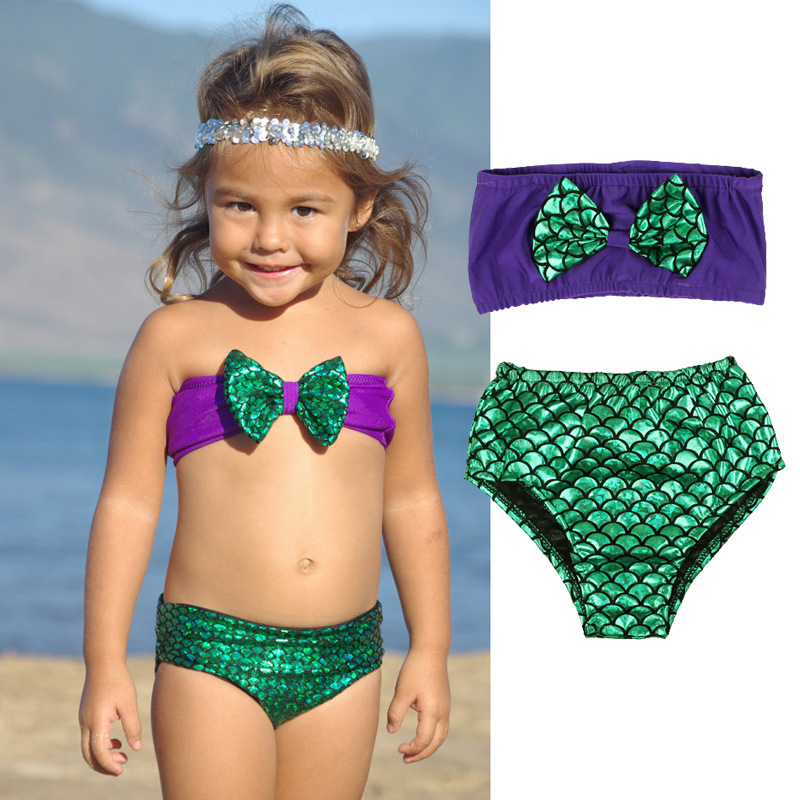 Baby Girl Kids Toddler Cute Mermaid Purple Swimwear Bikini