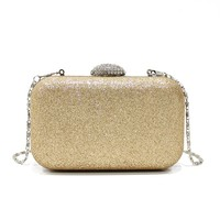 Gold gillter pu leather Evening Bags pvc clutch for women