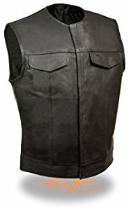 Men's SOA Collarless Leather Vest w/ Dual Inside Gun Pockets Perfect for Club Colors & Patches (Small)