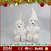 European style white polyfoam christmas polar bears decoration with scarf ice