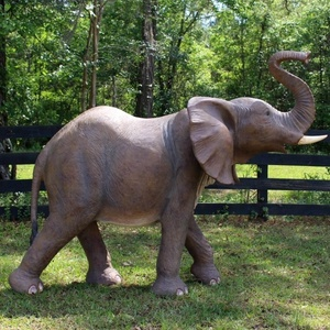 Realistic polyresin life size elephant statue