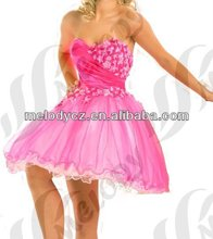 Pop hot marketing pink prom above knee short sleeveless mermaid dress roses
