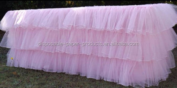 New Pink Tulle Tiered Table Cloth 6 Feet 3 Layered Tutu Ruffled Skirt
