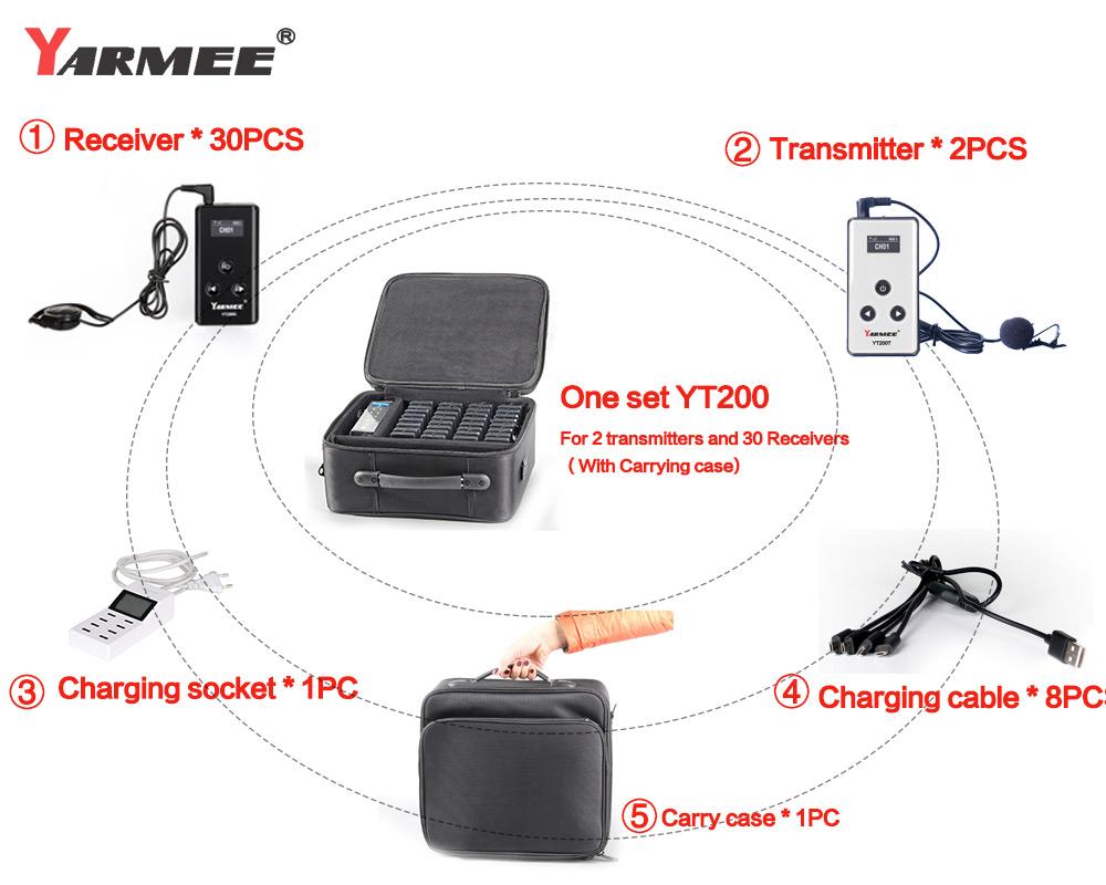 무선 tour guide system 교회 기 마이크 charging 와 case 및 storage case YT200