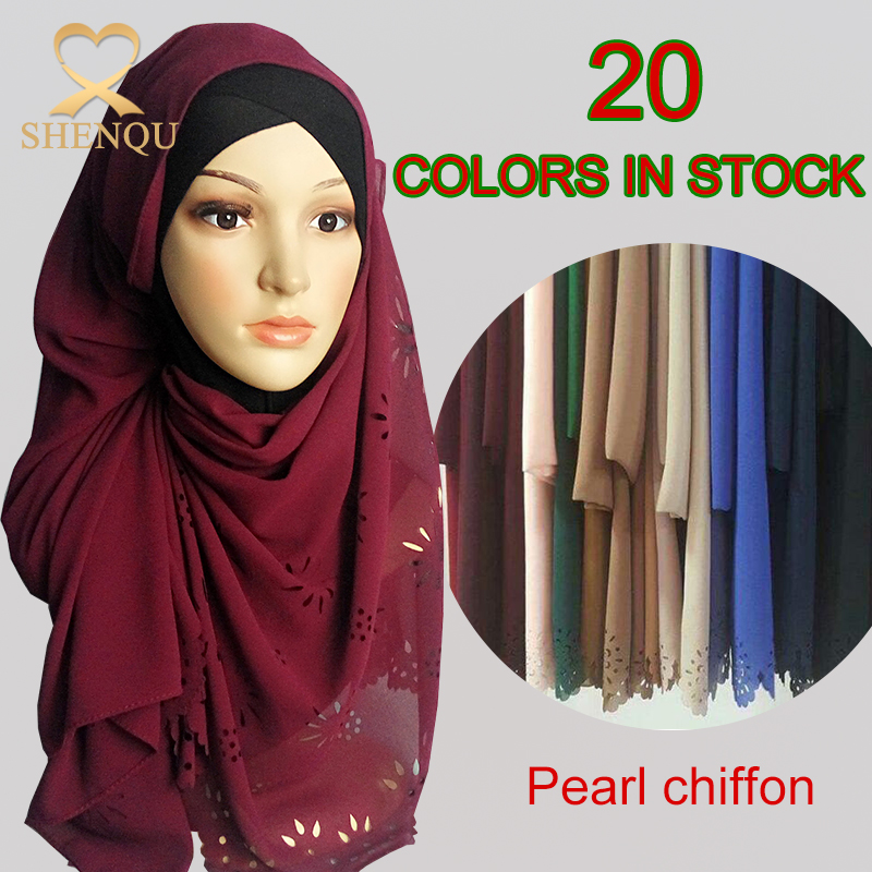2017 new design summer muslim hijab solid colors thick pearl bubble hollow chiffon shawl