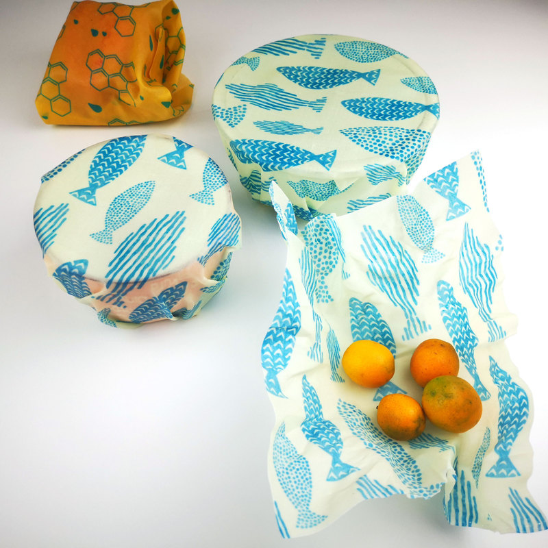 Zero waste beeswax food storage wrap bees wax reusable wrap custom printed wax paper bee wax food wrap