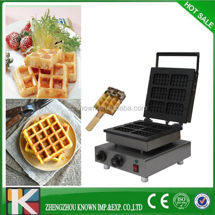 High Quality rectangle waffle maker shapes,liege waffle,waffle iron with 6 square moulds