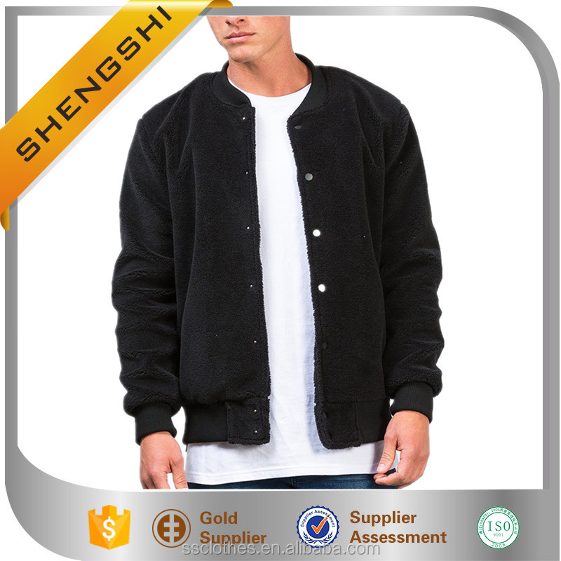 Thailand style ribbed baseball collar black boys bomber fancy jacket