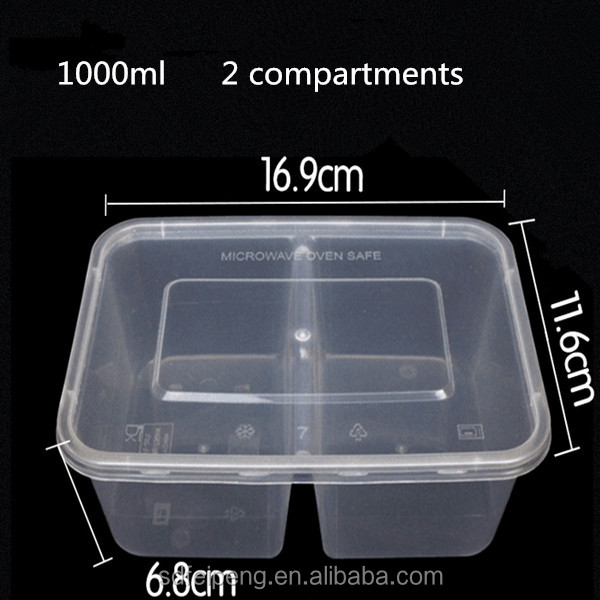 1000ml PP <strong>plastic</strong> and Transparent disposable <strong>plastic</strong> food packaging box/container box with two compartments/dividers