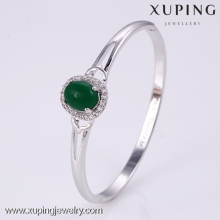 50867 Xuping Fashion Inlayed stone Luxury Decent Women Bangle jade color stone,ladies crystal bangle