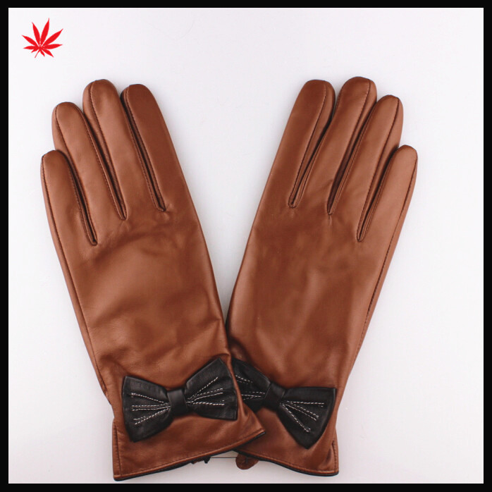Black bowknot women dress fashion leather gloves