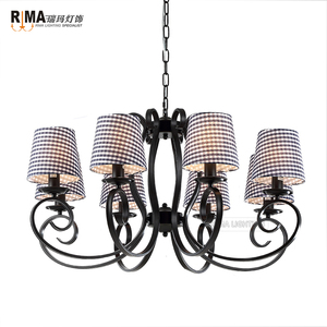 RM1426 Home bedroom decoration matt black fiber traditional Tiffany Style Chandelier light
