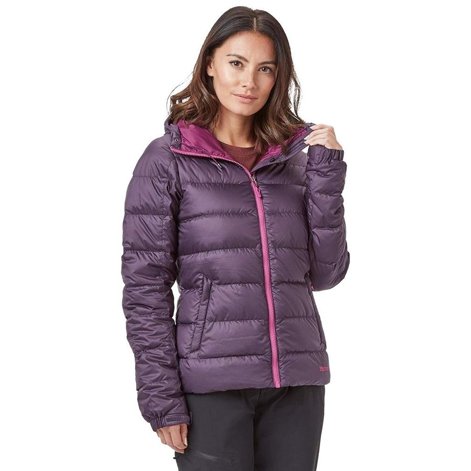 ac19dbfd797 Get Quotations · Marmot Women's Guides 700 Fill Power Down Hoodie Jacket  Coat (Nightshade Purple, Large)
