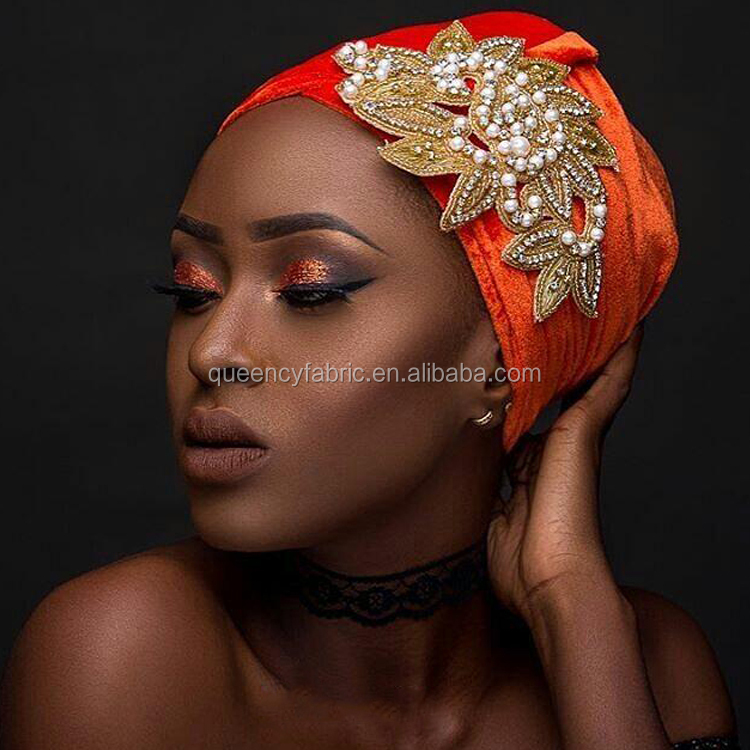 HQT02 Queency Wholesale African Ladies Cotton Velvet Turban Head Wrap