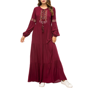 Fashion Burgundy Muslim Women Dress Drawstring Embroidered Long Sleeve Maxi Abaya Dress