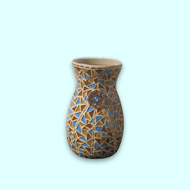 En gros Pas Cher Décoré Art Verrerie Bleu et or Vase en Verre de couleur avec stemed