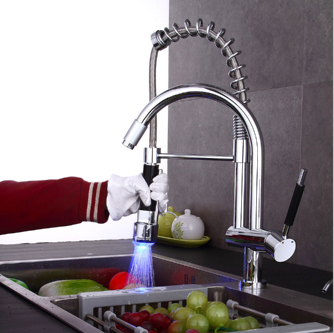 Hot Sale Brass LED RGB <strong>Spring</strong> Pull Down pull out <strong>Kitchen</strong> Sink <strong>Faucet</strong> <strong>kitchen</strong> mixer tap