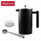 Amazon product Insulated 1000ml Double Wall Black Coffee Maker Stainless Steel French Press
