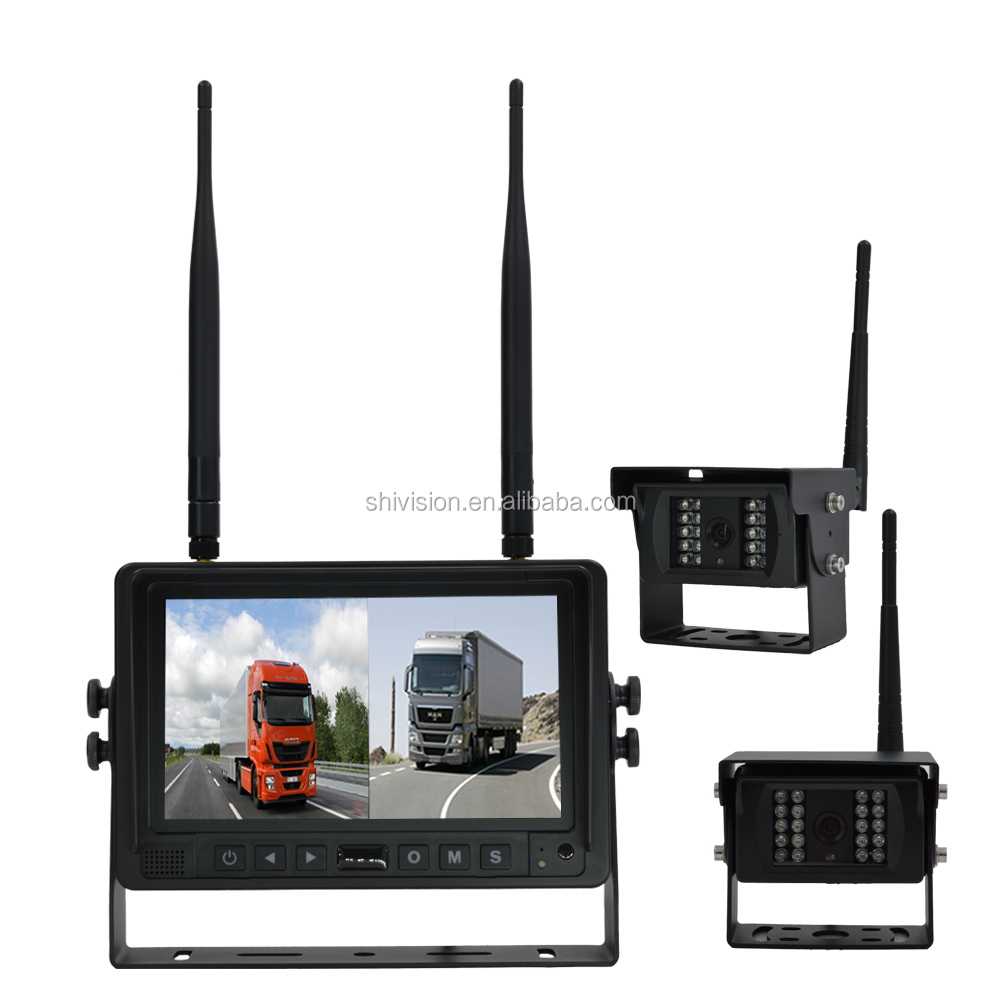 Heavy Duty 4CH Quad View 2.4G Digital Wireless Truck Rear View Camera System for Front,Rear and Side View