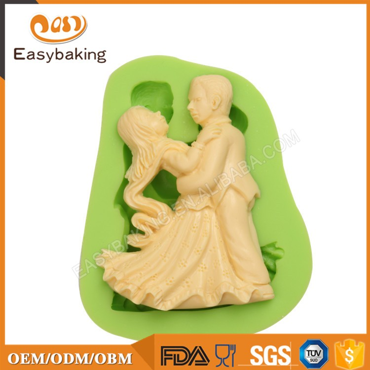 ES-1412 Dancing man and woman Silicone Molds for Fondant Cake Decorating