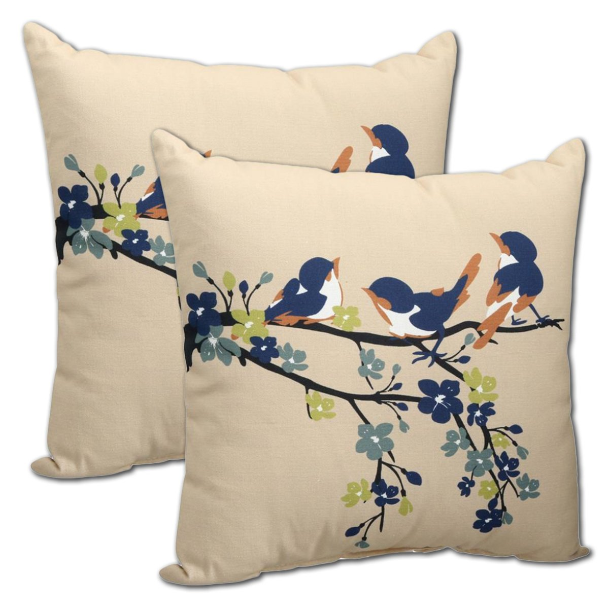 "Set of 2 Indoor/Outdoor Throw Pillow 16"" x 16"" x 4"" in Polyester Fabric Sand Birds by Comfort Classics Inc."