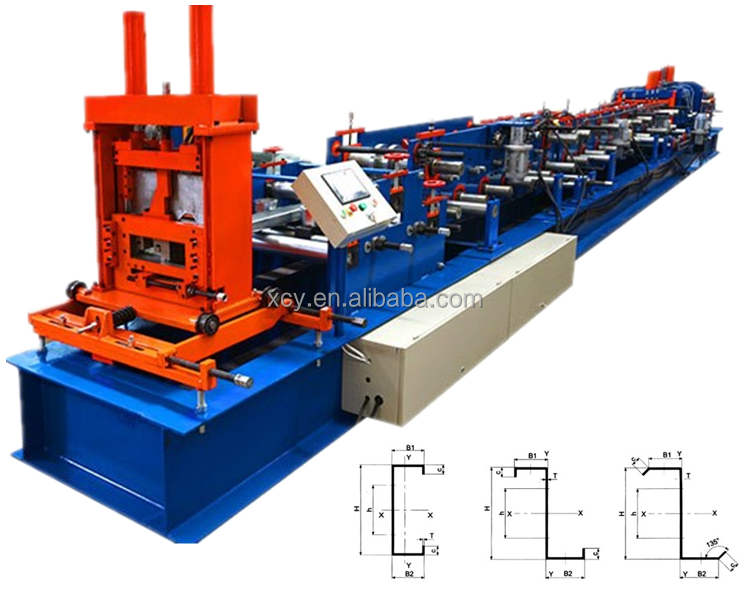 automatic changeable C Z purlin in line press galvanized metal roofing used roll forming machine Machine