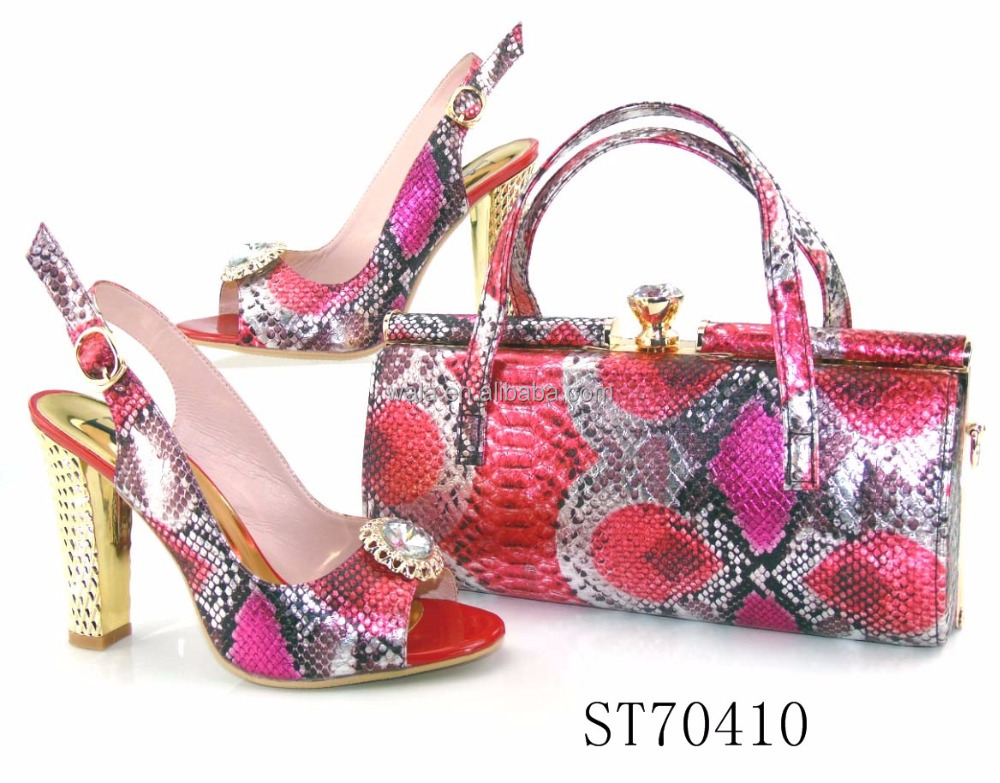 ST70410 lady wholesale italian fashion high heel big size shoes and bag set