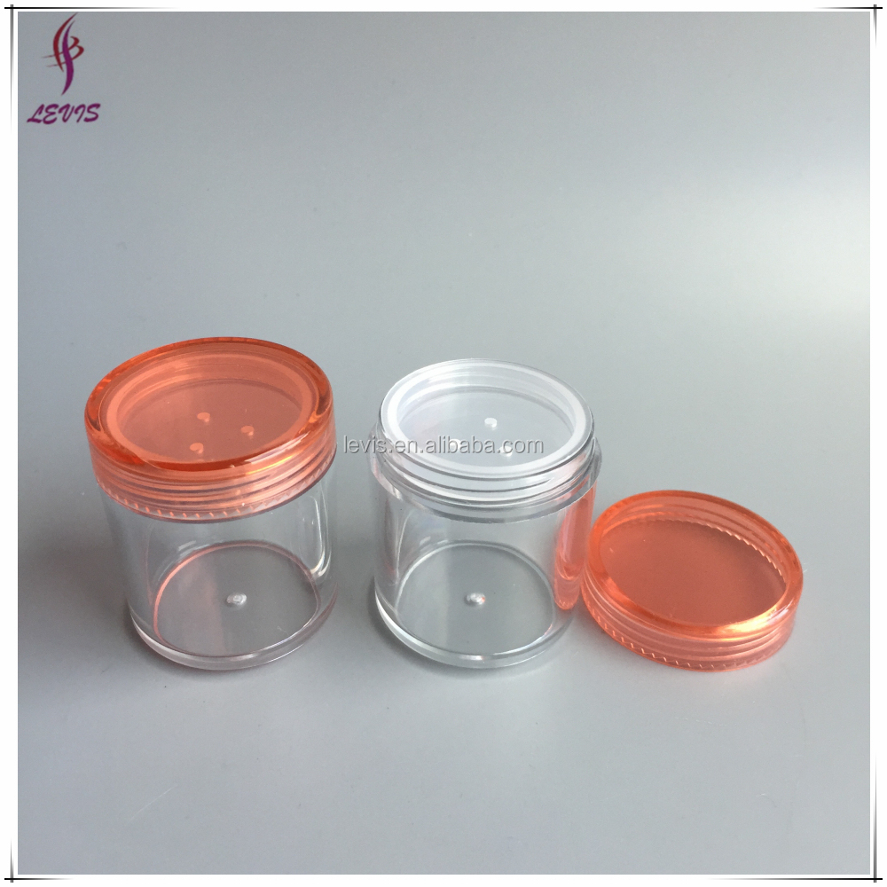 Cosmetische 20 ml clear plastic poeder container met for Container en francais