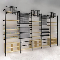 Modern wooden and steel convenience clothing store wall display racks