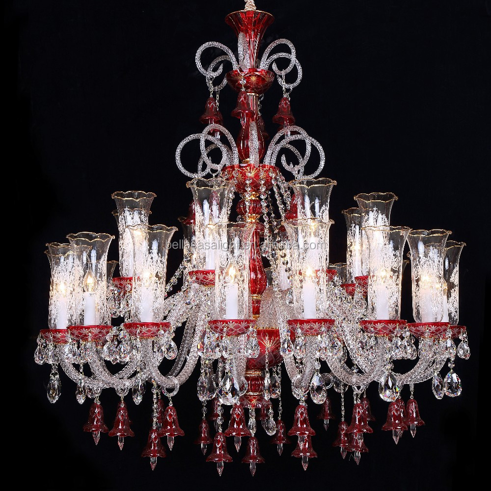 24 Lights Europe Style Red Color Glass Crystal Chandelier for Wedding